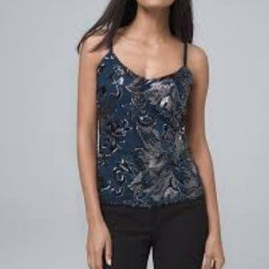 WHBM SEQUIN FLOWER CAMI RIVER TEAL NWT XS